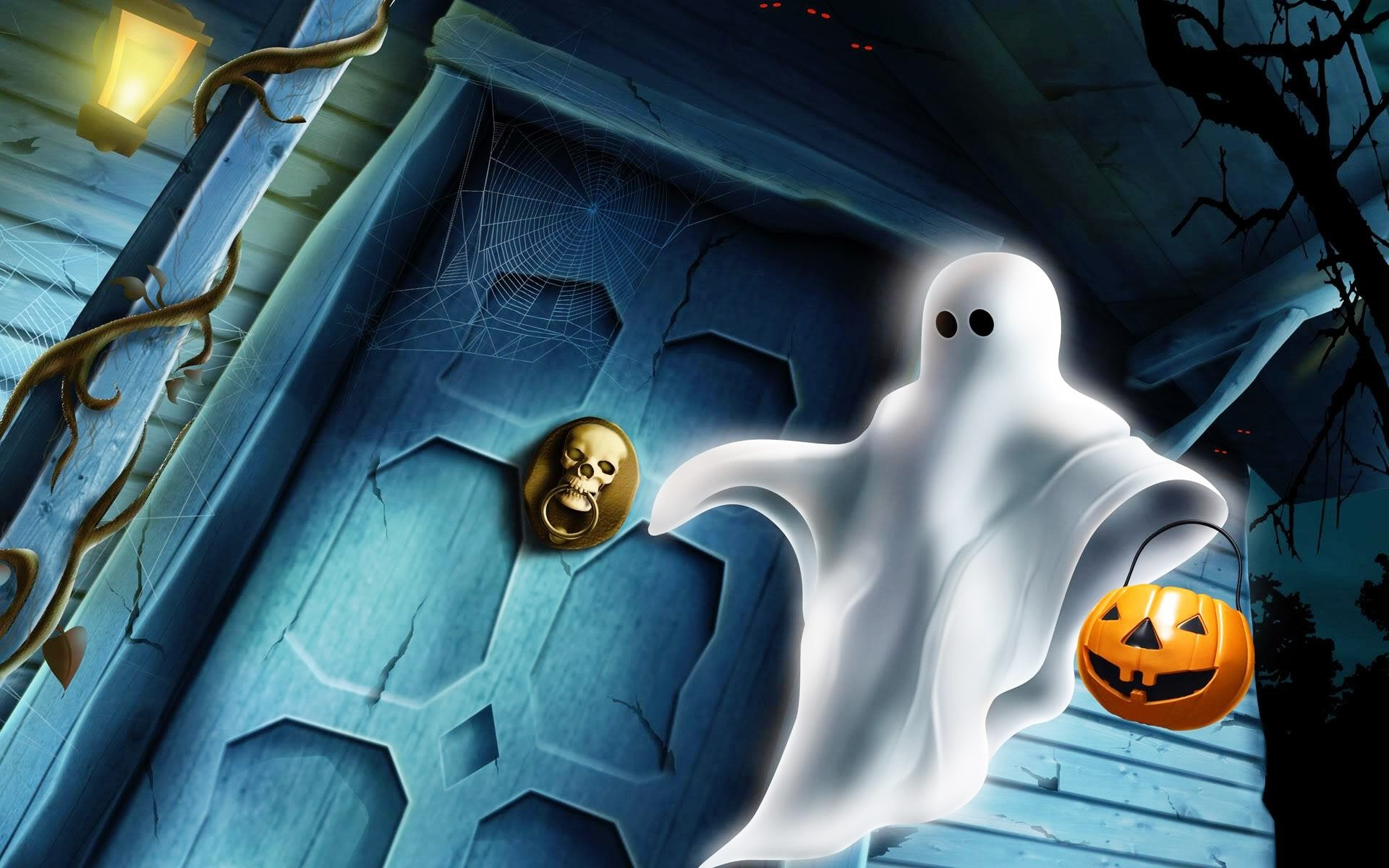 Download Wallpaper Halloween Pumpkin Ghost 1