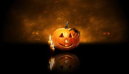 Download Wallpaper Halloween Pumpkin Spider Candles 1